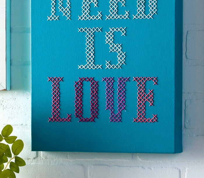 Put your favorite quote on canvas using this simple tutorial. My version features Beatles lyrics - All You Need Is Love. So fun to make!