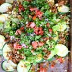 You'll love these delicious veggie nachos with zucchini instead of tortilla chips! Use the meat of your choice and load up with healthy extras.