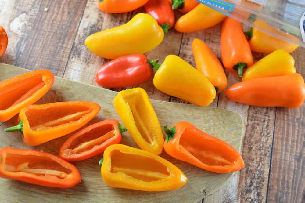 Washing and cutting mini peppers