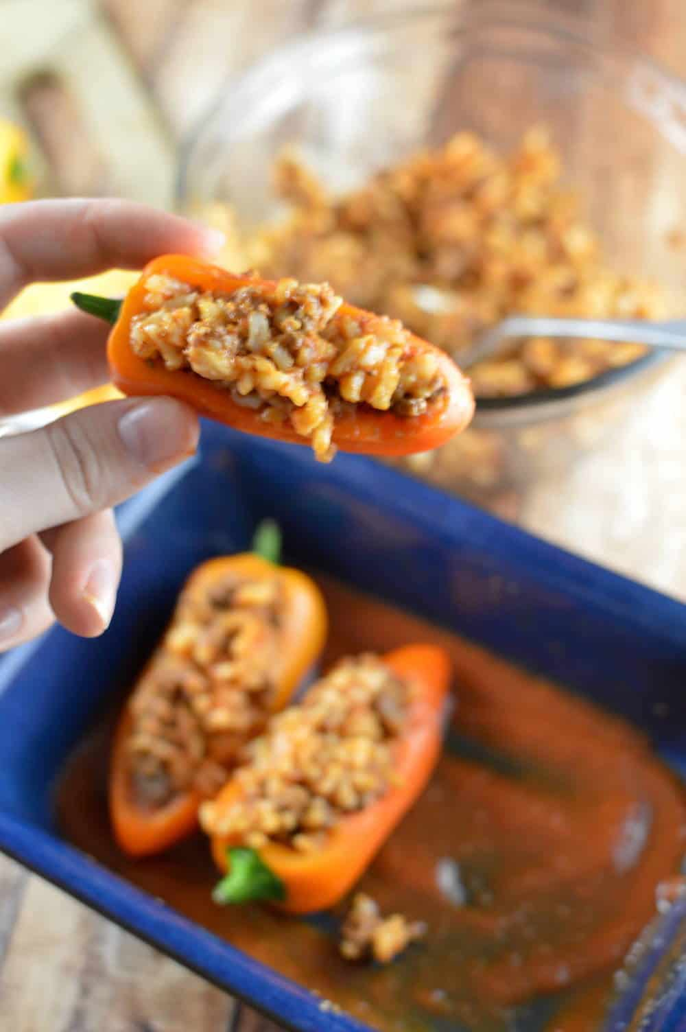 Mini peppers stuffed with a rice mixture