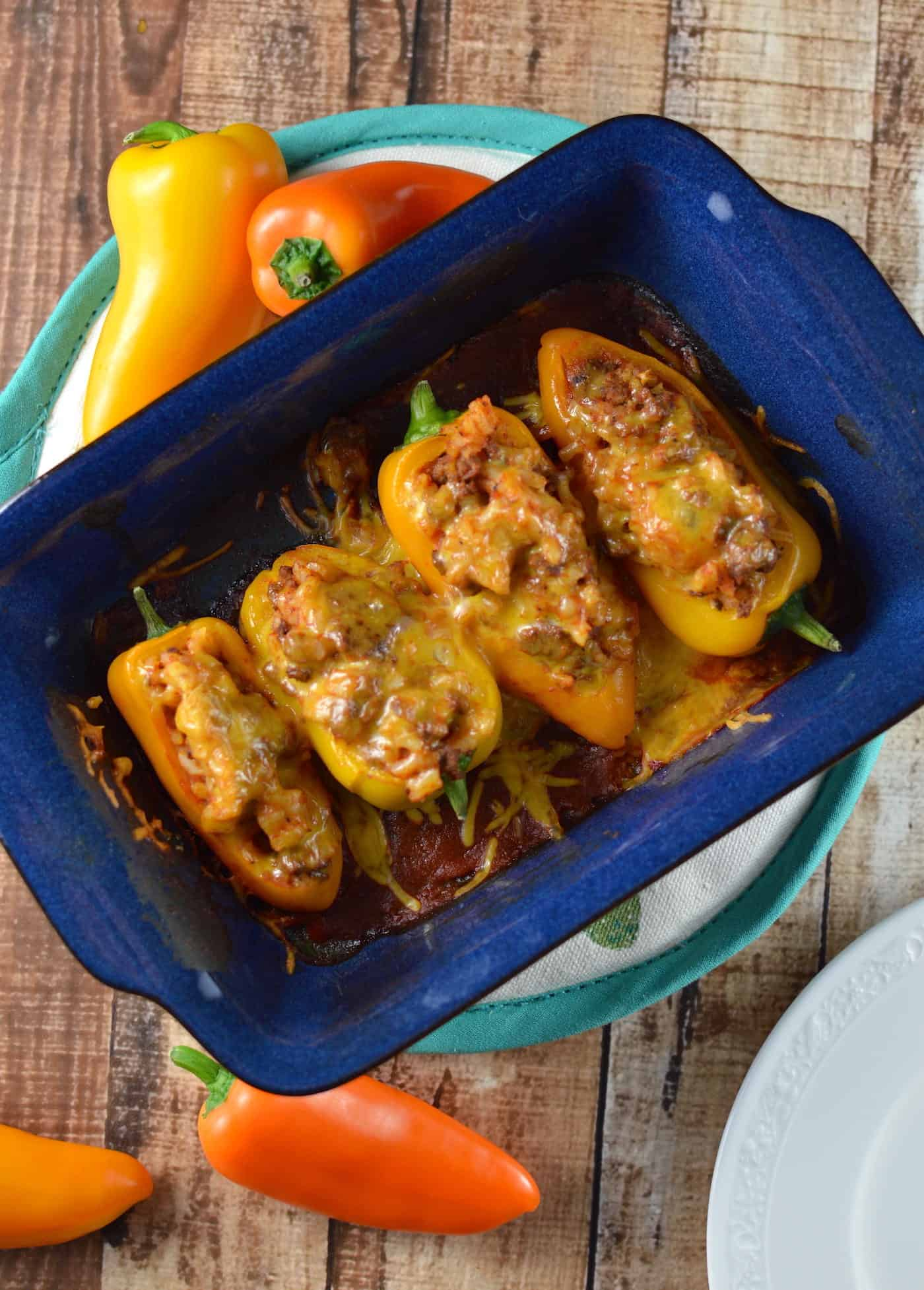 Stuffed mini peppers in a small baking dish