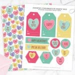 Are you ready for Valentine's Day? Download these free conversation heart valentine tags and gift wrap to liven up your holiday! So cute.