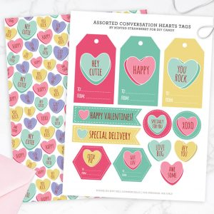 Conversation Heart Valentine Tags and Gift Wrap