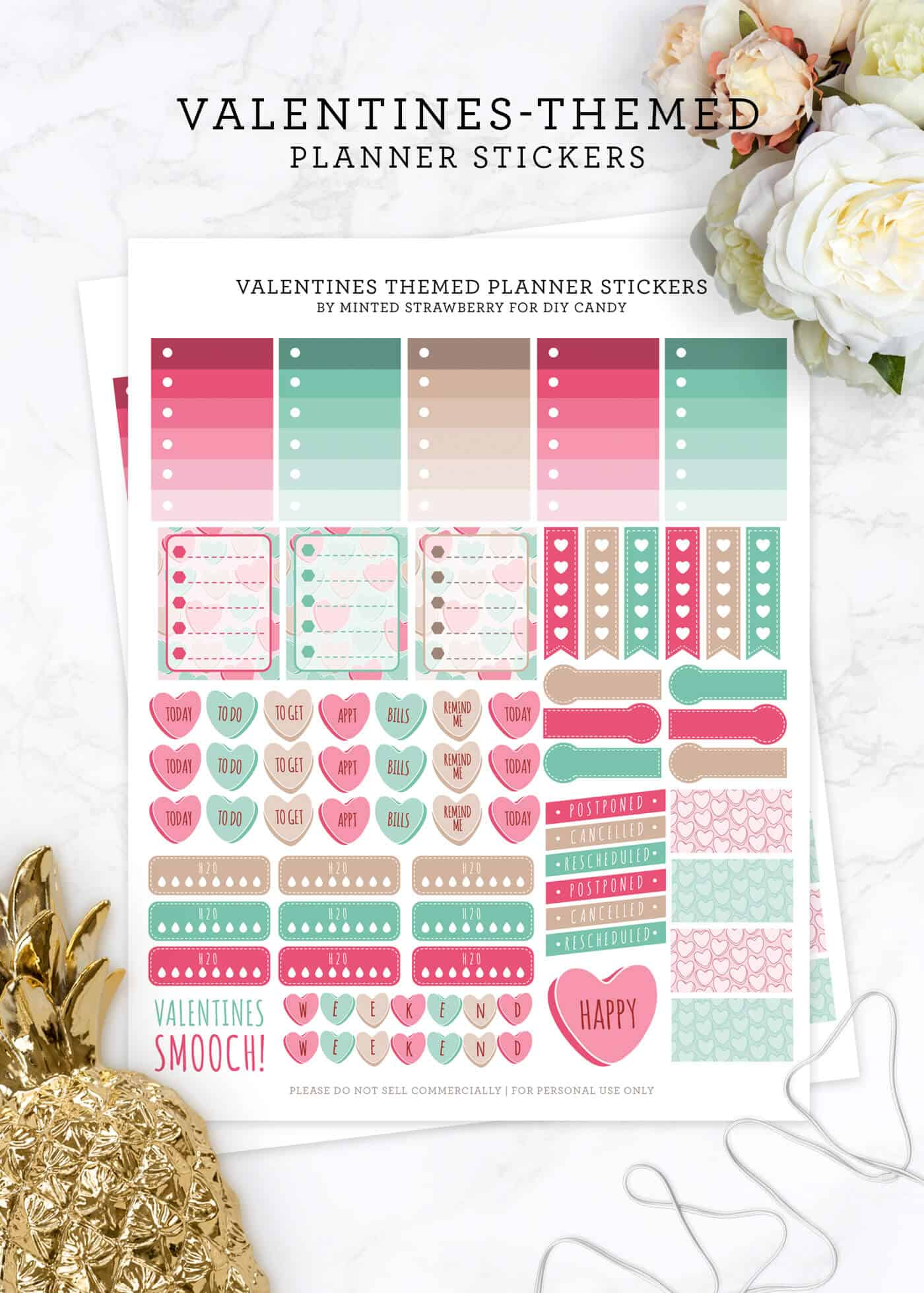 Free Valentines Planner Stickers with a Cute Theme