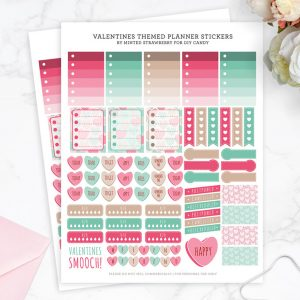Download these Valentines-themed stickers for planners - this printable is jam-packed with a bunch of useful labels, boxes and cute hearts.