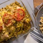 This tomato topped chicken and stuffing casserole only takes ten minutes to prepare. It's creamy and delicious - the whole family will love it!