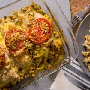 Tomato Topped Chicken and Stuffing Casserole