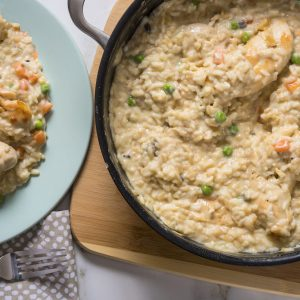 Creamy One Pan Veggie Chicken Risotto