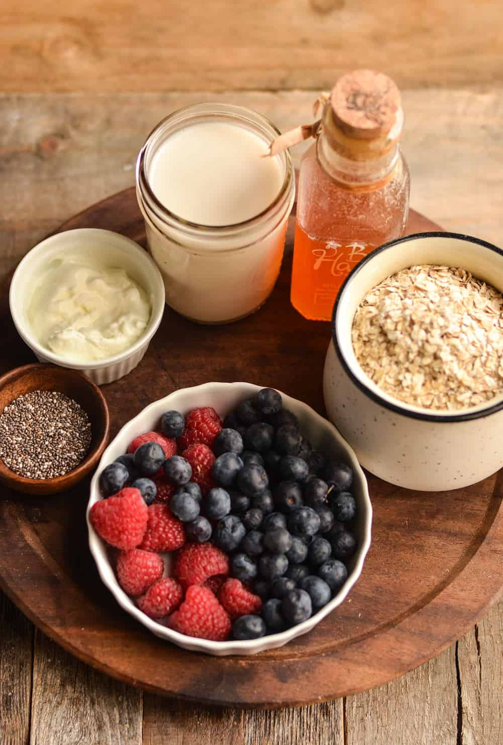 Get a good start in the morning with this delicious mixed berry oatmeal smoothie filled with fiber and protein! You can make it ahead if you like.