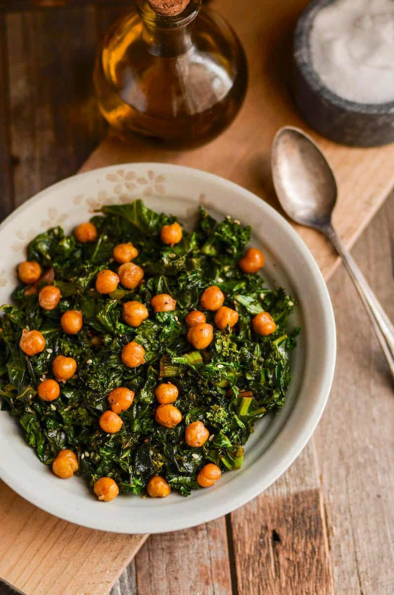 If you're looking for a healthy side, this sautéed kale with roasted chickpeas is delicious! Perfect for my adrenal fatigue eating plan.