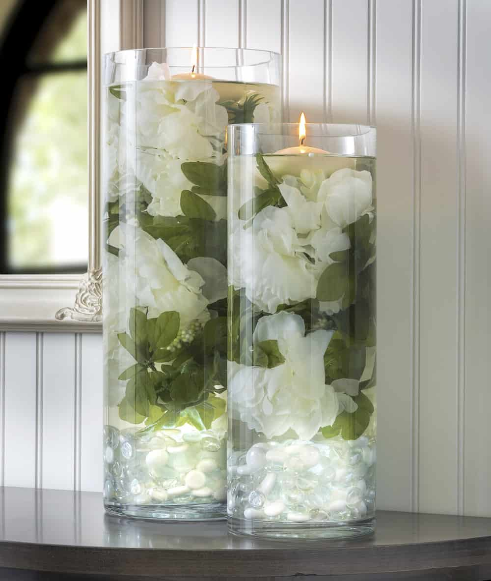 Wedding centerpieces diy candles image collections for Wedding dress vase centerpiece