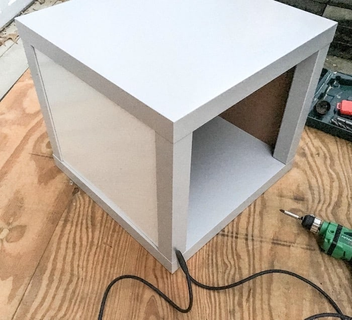DIY IKEA end table - add the other table top using screws