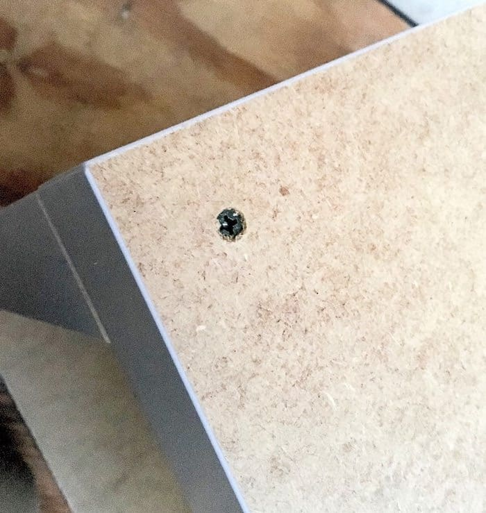 DIY side table - add the other table top using screws