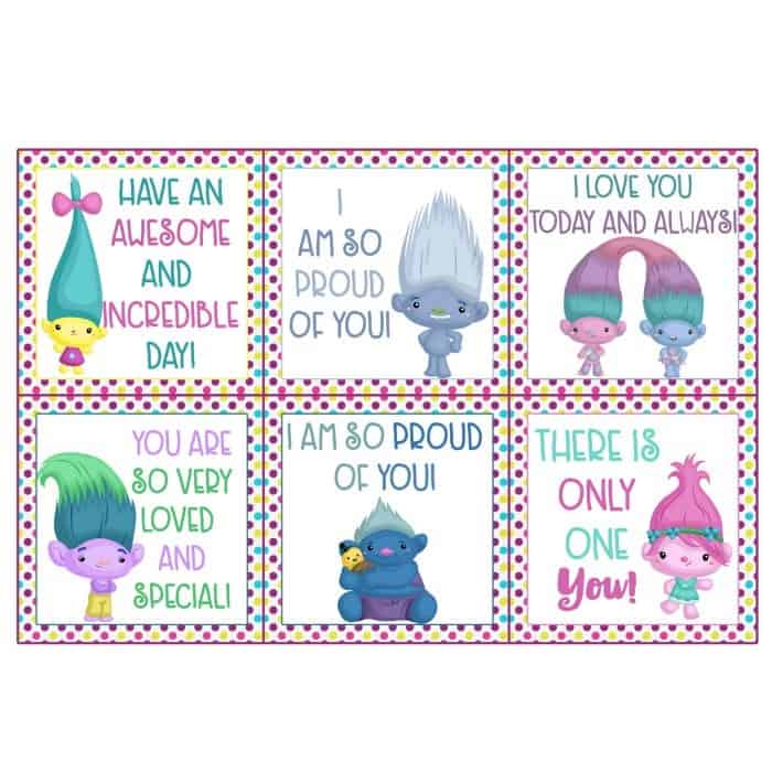 photo about Printable Lunchbox Notes identified as Cost-free Trolls Printables: Lunchbox Notes - Do it yourself Sweet