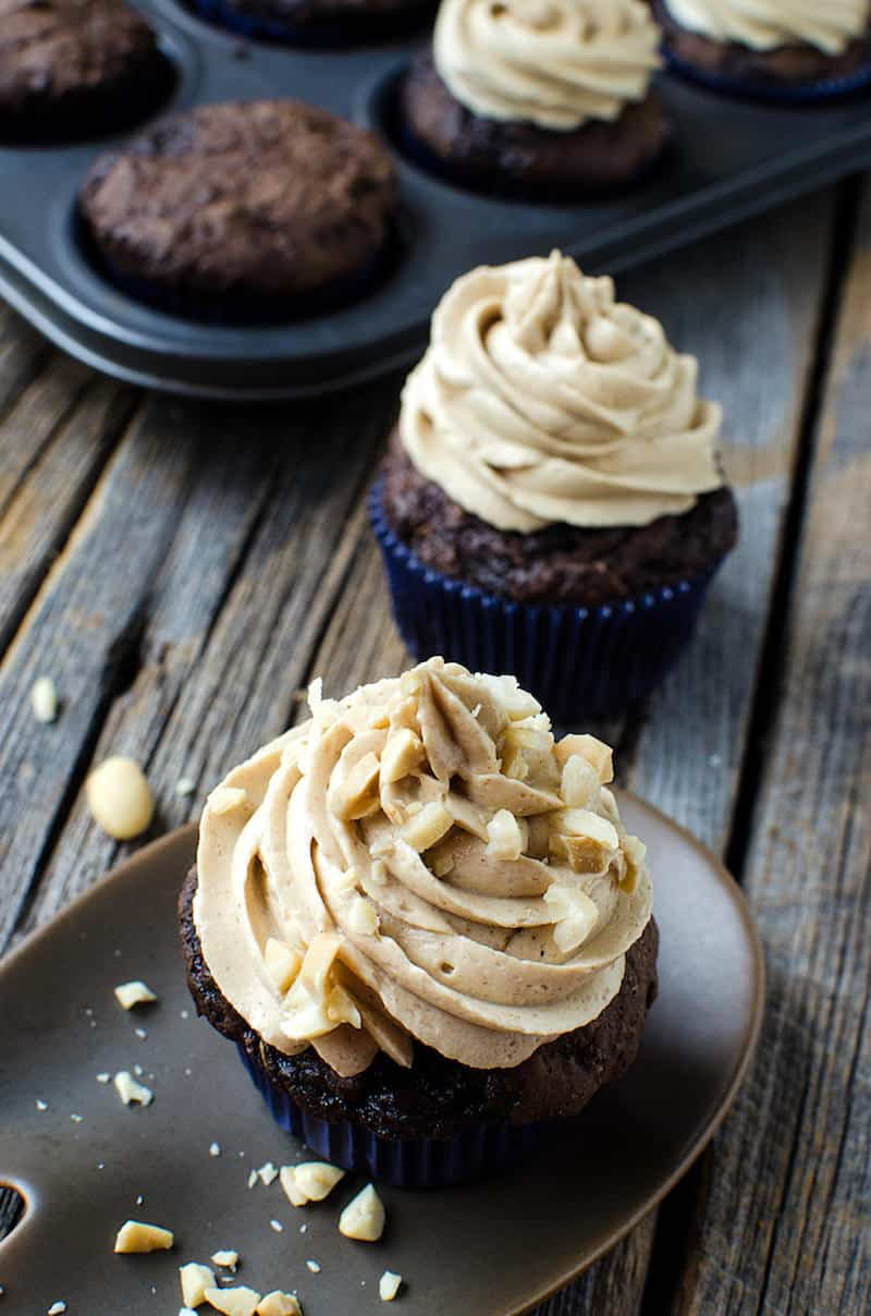 These chocolate zucchini cupcakes are the best you've ever had! They're moist and delicious, and the peanut butter icing pairs perfectly with the flavor.
