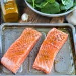 If you're looking for delicious and easy adrenal fatigue recipes, this baked salmon with garlic spinach is perfect - and so simple to make!
