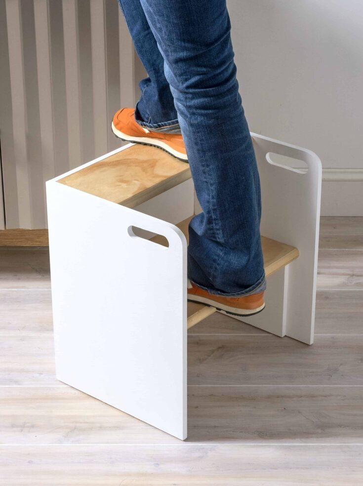 Learn how to build a wooden step stool that turns into a chair if you flip it over. You'll love the modern look - paint it any colors you like.