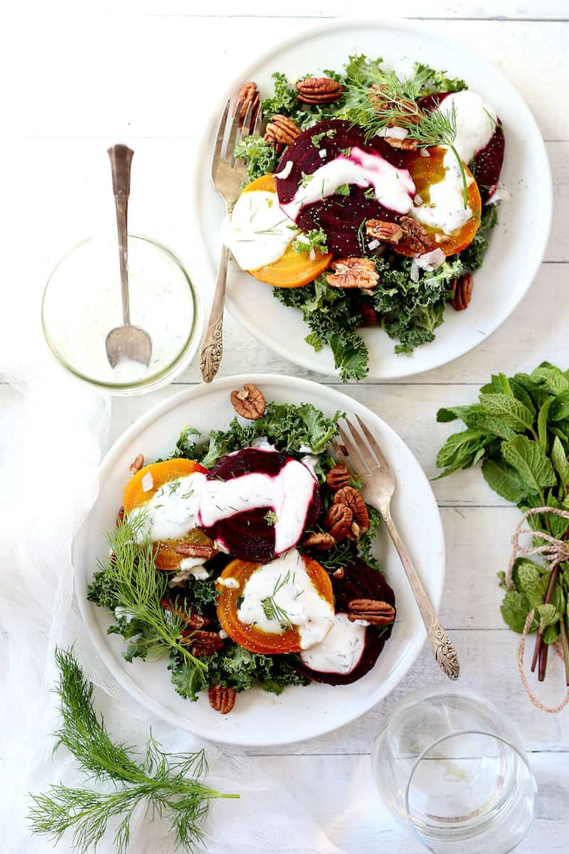 How to make a roasted beet salad with kale and Greek yogurt dressing