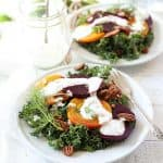 Delicious kale and beet salad with greek yogurt dressing