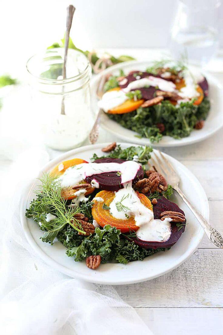 Kale and Beet Salad in Greek Yogurt Herb Dressing