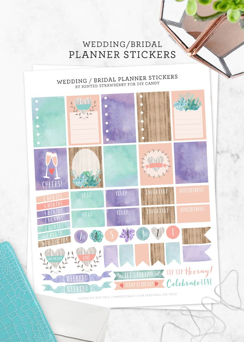 If you are a bride or groom planning for the big day, grab these free stickers for planners . . . perfectly designed with a wedding and bridal theme!