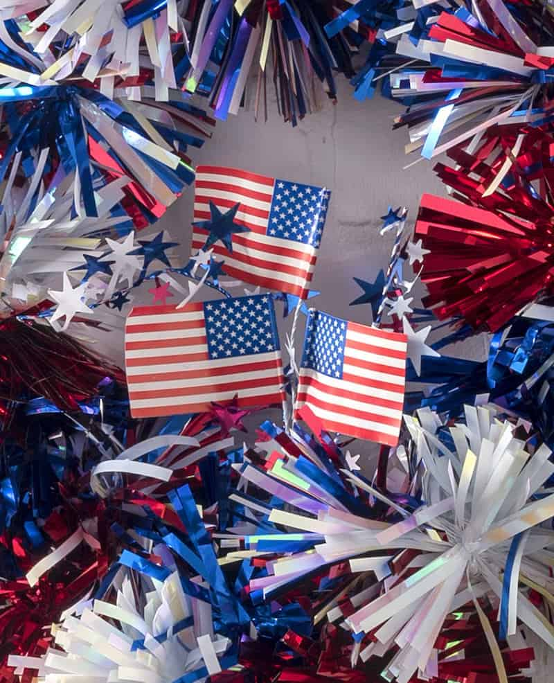 DIY Fourth of July wreath with paper flags