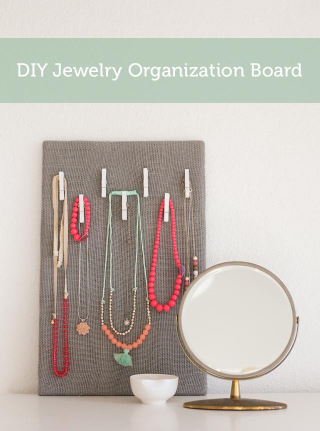 DIY jewelry organizer board