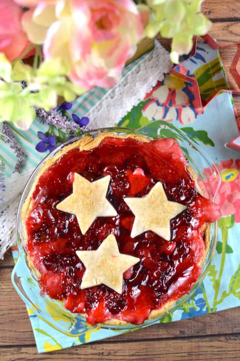 Make this EASY cherry cream cheese pie with ready made ingredients! This summer dessert is perfect for the 4th of July and Memorial Day.