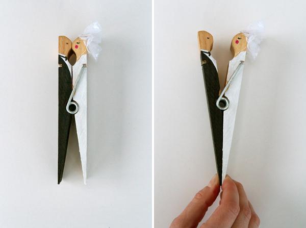 Wedding clothespin cake topper