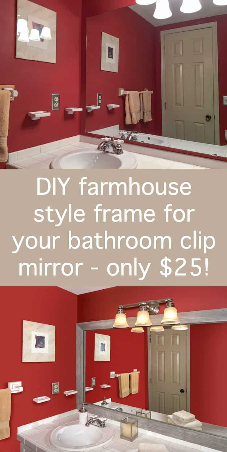 make a farmhouse style diy mirror frame for your plain clip bathroom mirror this is