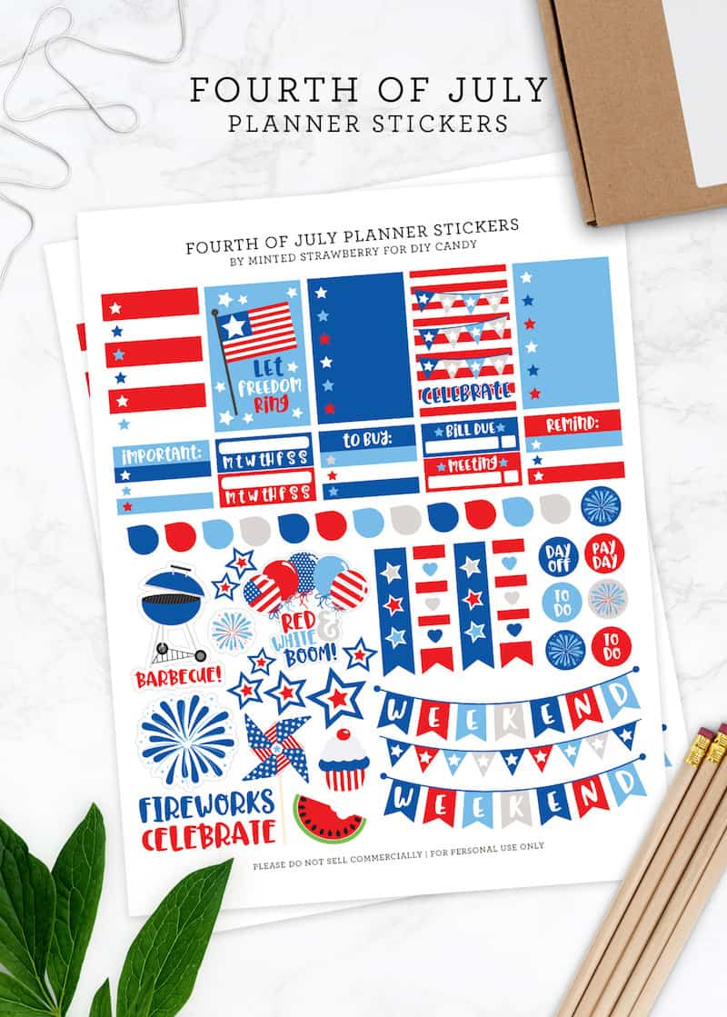 Cute Planner Stickers for the 4th of July