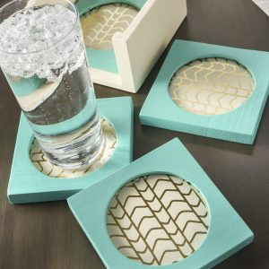 Painted DIY Coasters Goodwill Revamp