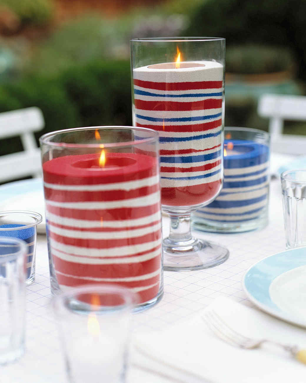 Easy sand candles for Fourth of July