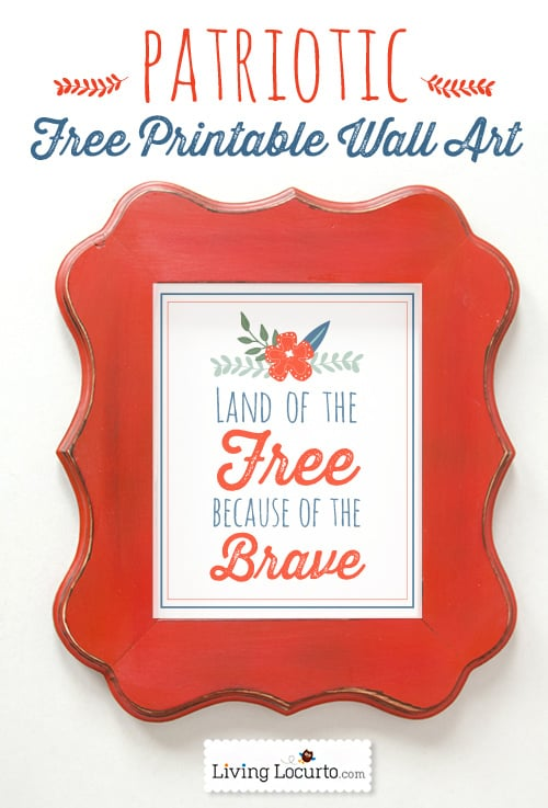 Free printable patriotic wall art for 4th of July