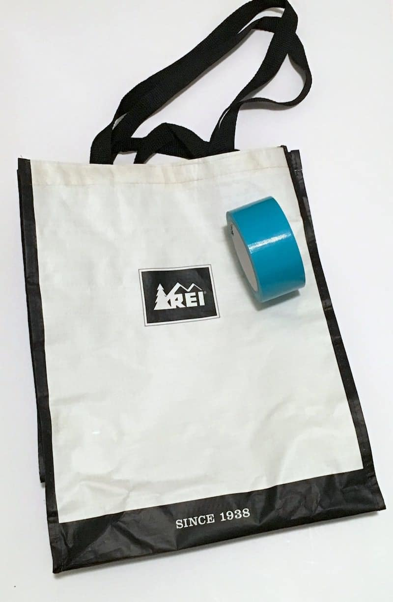 Inexpensive free grocery bag with a roll of Aqua Duck Tape