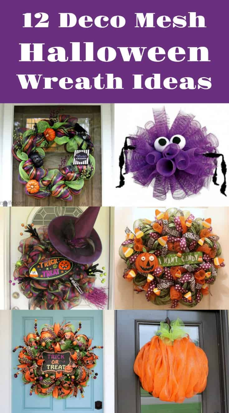 12 diy deco mesh wreaths for halloween diy candy. Black Bedroom Furniture Sets. Home Design Ideas