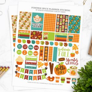 Grab this free planner printable featuring your favorite pumpkin spice! Perfect for autumn and fits a variety of planner types.