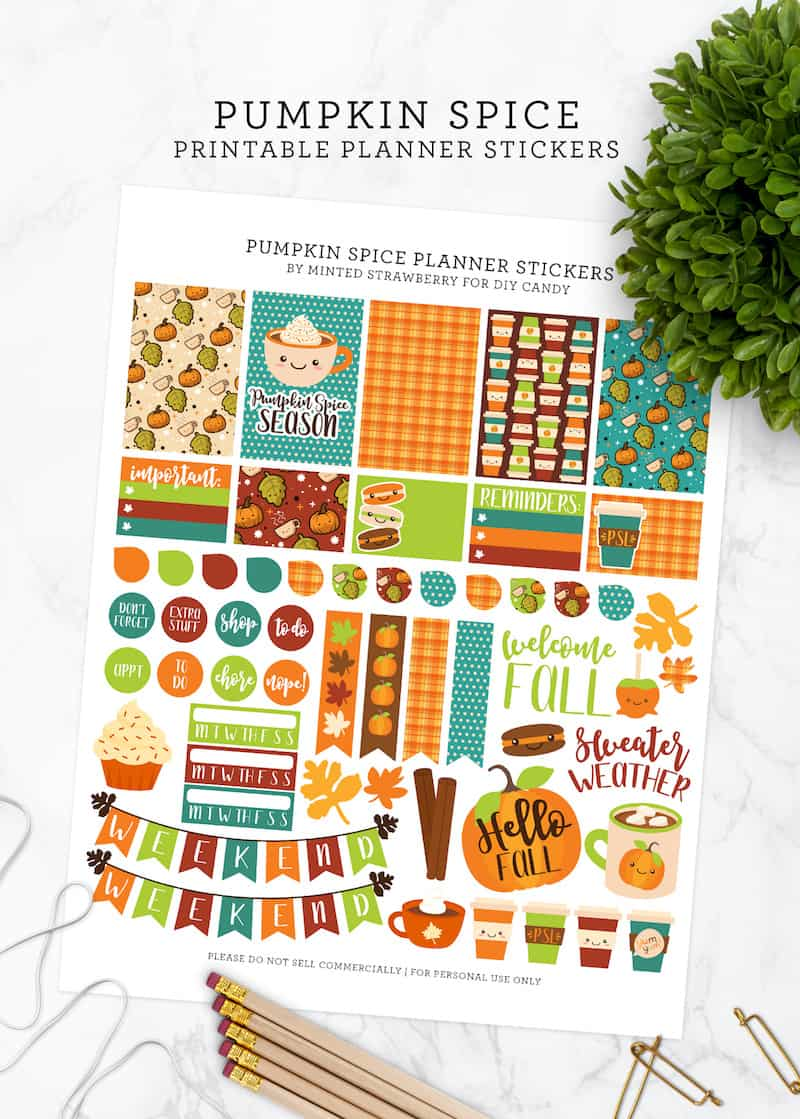 photo relating to Free Printable Food Planner Stickers named Pumpkin Spice No cost Planner Printable - Do-it-yourself Sweet