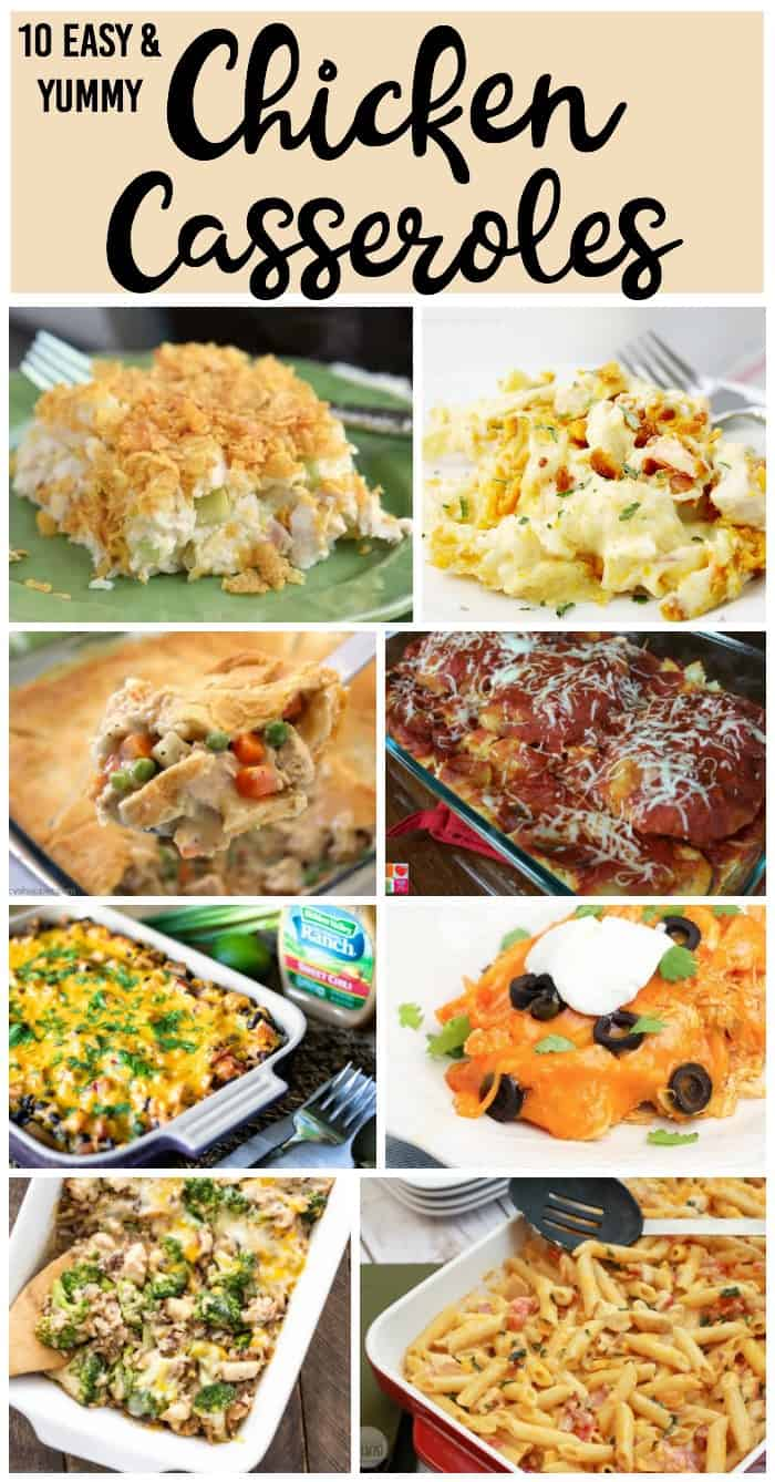 Make these 10 easy chicken casserole recipes for dinner this week! So much variety you can make them night after night and family won't get bored.