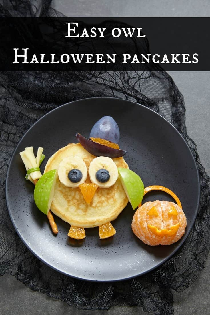 Easy owl Halloween pancakes recipe