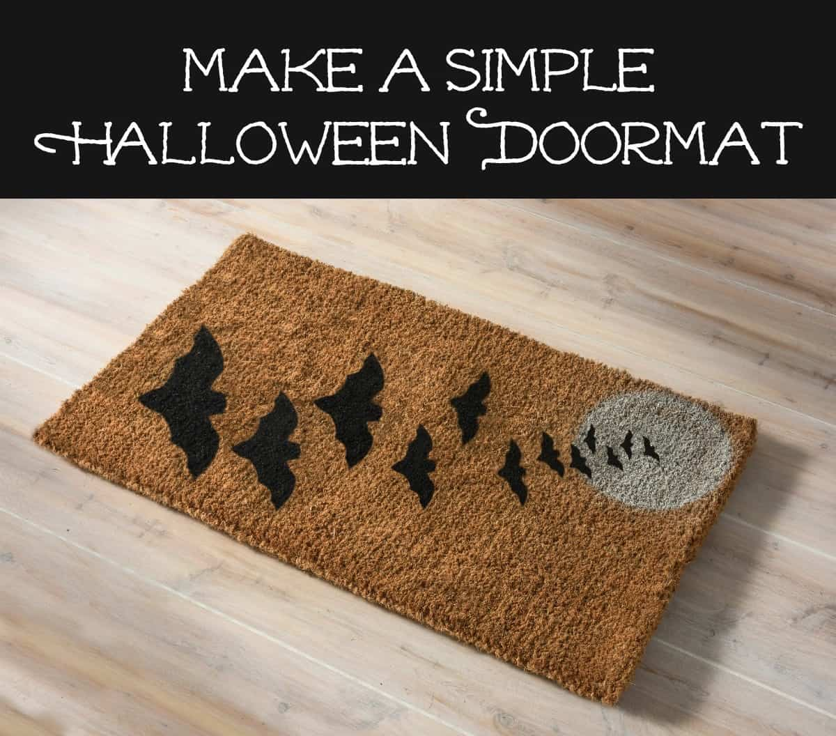 make a simple halloween doormat with spray paint - diy candy