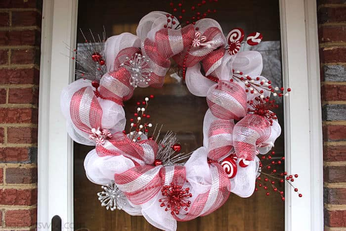 Candy cane Christmas mesh wreath