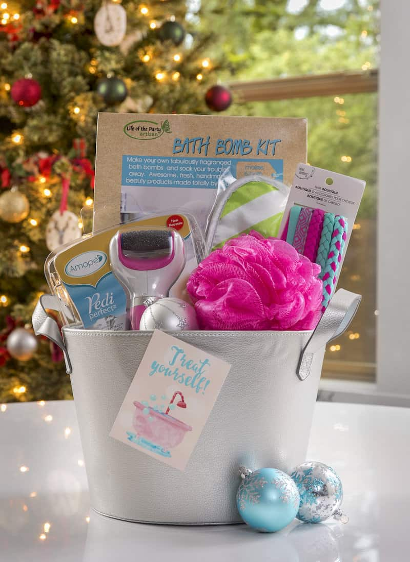 Make an awesome DIY spa gift basket for a creative bestie! Add lots of fun supplies including an Amopé - plus get a free