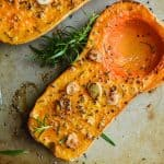 The garlic and rosemary make this roasted butternut squash recipe! Perfect for a weeknight dinner or even a side for a holiday.