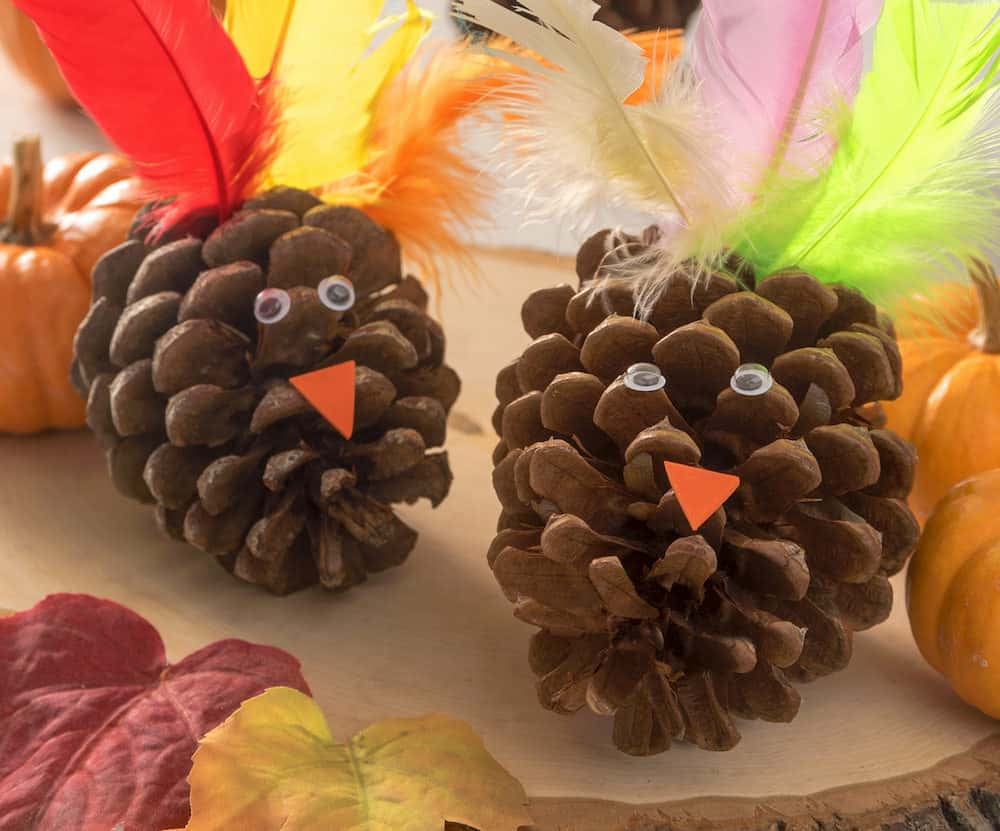 This pinecone turkey craft is a perfect kids craft idea for Thanksgiving! It's so easy anyone can do it, and the materials are cheap.