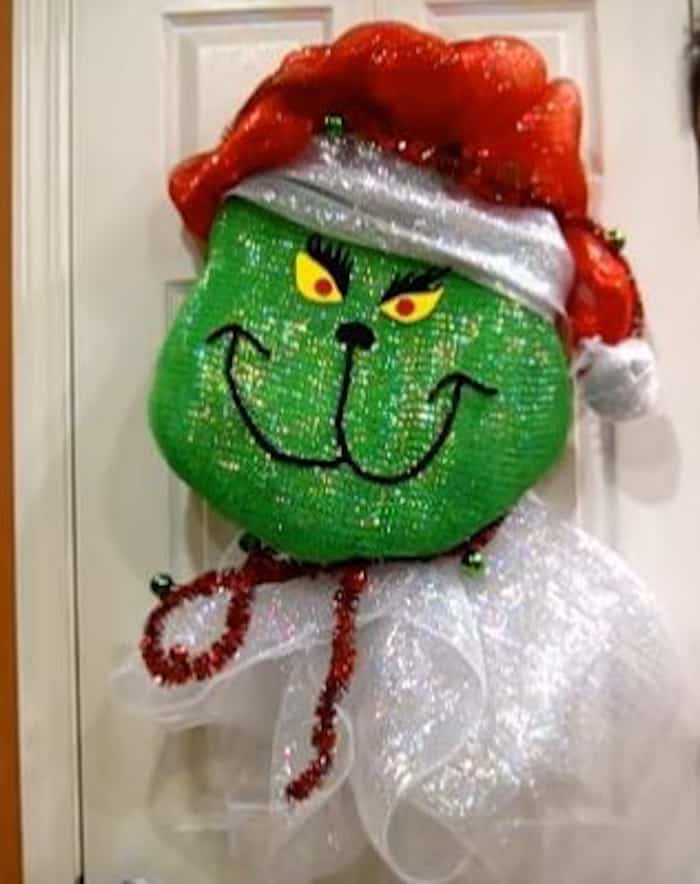 Grinch deco mesh Christmas wreath