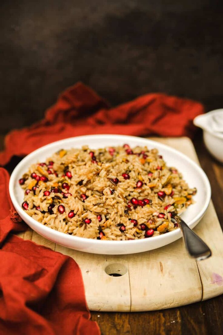 Pomegranate and Pistachio Wild Rice Pilaf