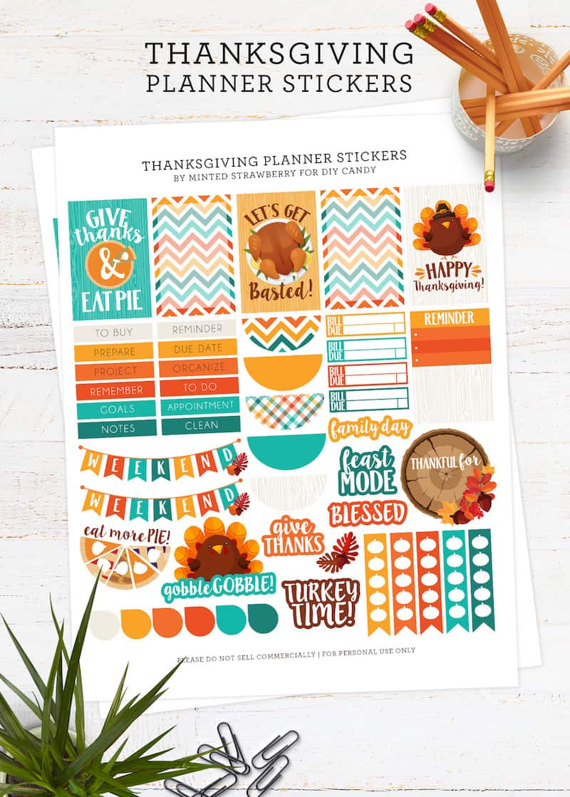 photograph about Thanksgiving Planner Printable titled Free of charge Thanksgiving Lovable Planner Stickers - Do-it-yourself Sweet