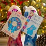 "If you are looking for a last minute neighbor Christmas gift idea, or a ""just because"" holiday hostess gift, this body wash idea is cute! Add the free printable tags. It takes about a minute to assemble!"