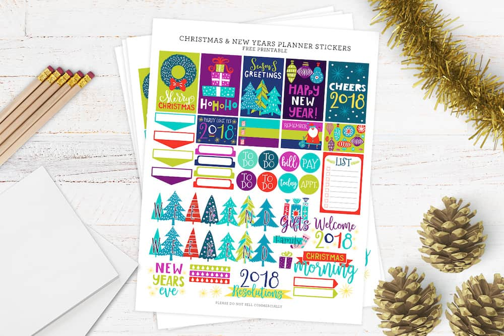graphic about Free Planner Sticker Printables titled Absolutely free Xmas and Fresh new 12 months Planner Stickers - Do-it-yourself Sweet